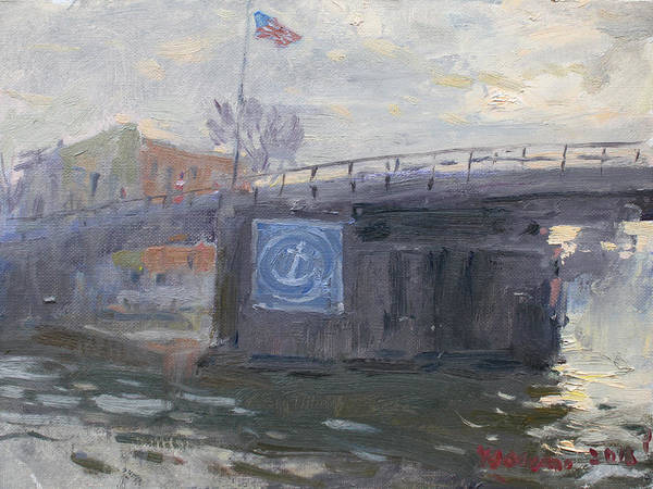 Tonawanda Wall Art - Painting - Sunset By Tonawanda Bridge  by Ylli Haruni