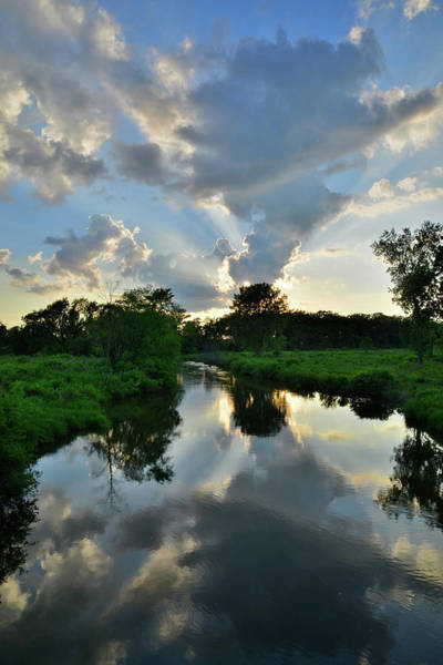 Photograph - Sunset Clouds Reflected In Nippersink Creek In Glacial Park by Ray Mathis