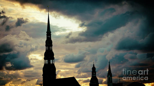 Photograph - Sunset Cloudscape In Old Town Riga Artmif  by Raimond Klavins