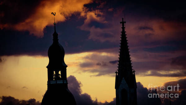 Photograph - Sunset Cloudscape Old Town Riga Latvia by Raimond Klavins