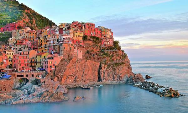 Little Italy Photograph - Sunset Colors Of Manarola by Frozen in Time Fine Art Photography
