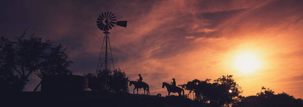 Horseman Photograph - Sunset, Cowboys, Texas, Usa by Panoramic Images