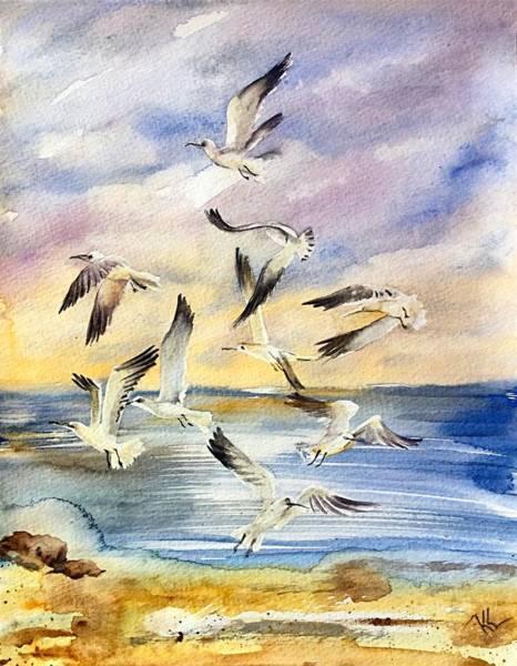 Painting - Sunset Dance by Katerina Kovatcheva