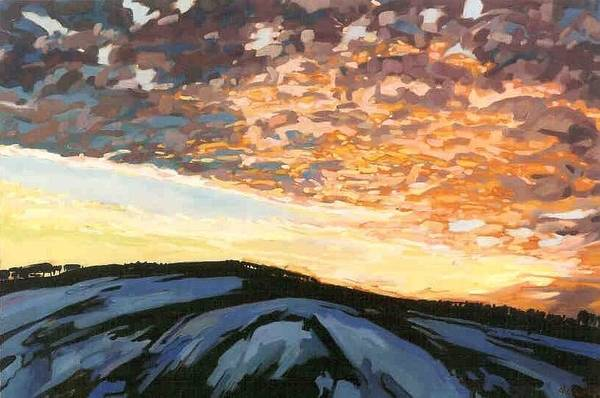 Watershed Painting - Sunset Embers by Phil Chadwick