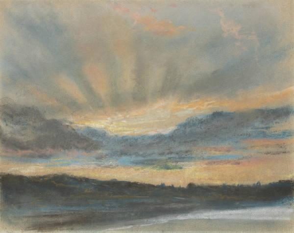 Wall Art - Pastel - Sunset by Eugene Delacroix
