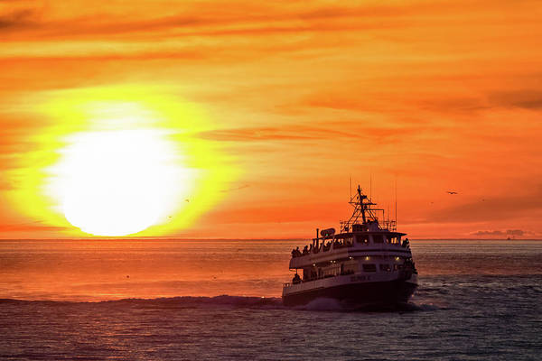 Cape Cod Sunset Photograph - Sunset Ferry by Michael Weber