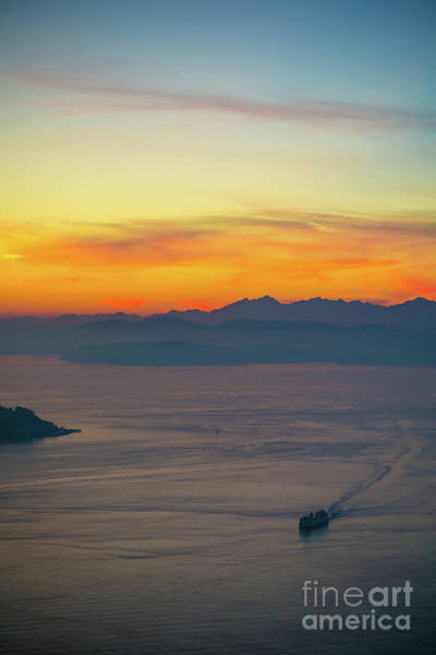 Wall Art - Photograph - Sunset Ferry Rounding Alki Point by Mike Reid