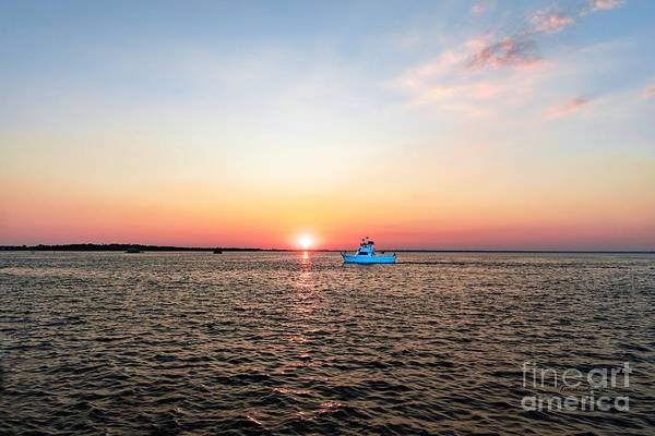 Choctawhatchee Bay Photograph - Sunset Fishing Boat Off Dewey Destin Fl Pier 1208a by Ricardos Creations
