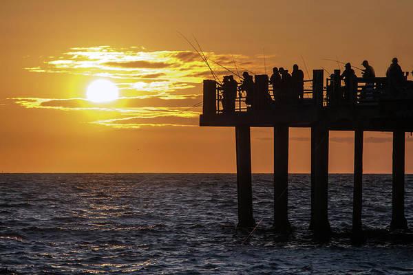 Photograph - Sunset Fishing In Redondo by Ed Clark