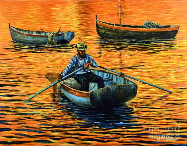 Paddling Painting - Sunset Fishing by Ricardo Chavez-Mendez