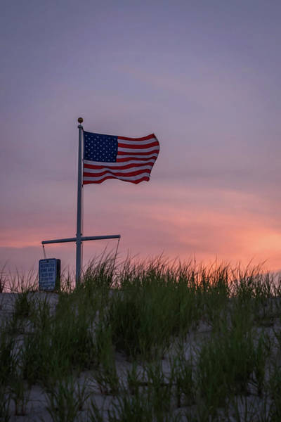 Flying The Flag Wall Art - Photograph - Sunset Flag Beach Dune Lavallette Nj  by Terry DeLuco
