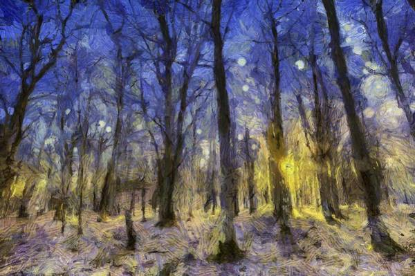 Wall Art - Mixed Media - Sunset Forest Van Gogh by David Pyatt