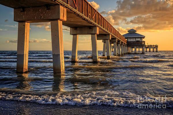 Photograph - Sunset Fort Myers Beach Fishing Pier by Edward Fielding