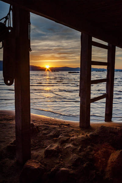 Herron Photograph - Sunset From Beneath The Pier by Mike  Herron