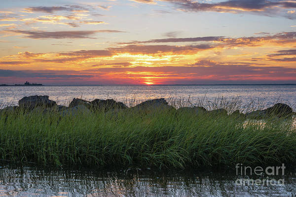 Fire In The Sky Wall Art - Photograph - Sunset From Sandy Hook Nj by Michael Ver Sprill