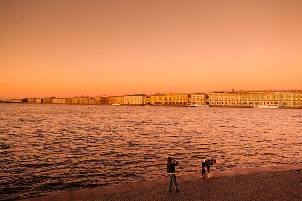 Hermitage Photograph - Sunset From The Neva River, State by Panoramic Images