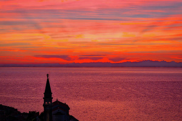 Photograph - Sunset From The Walls - Piran Slovenia by Stuart Litoff