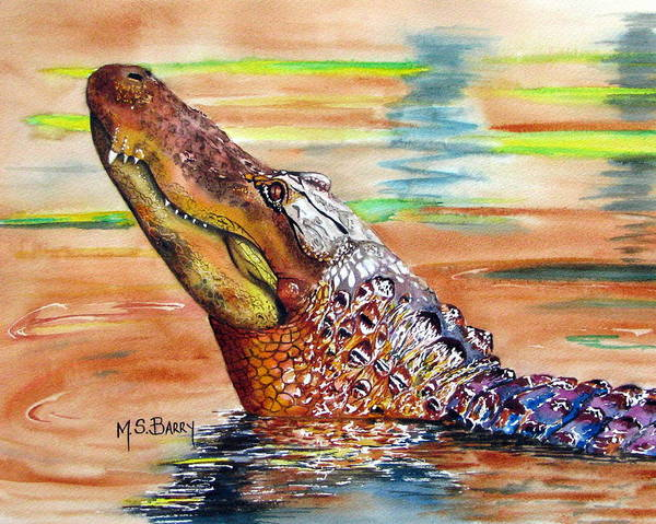 Gator Wall Art - Painting - Sunset Gator by Maria Barry
