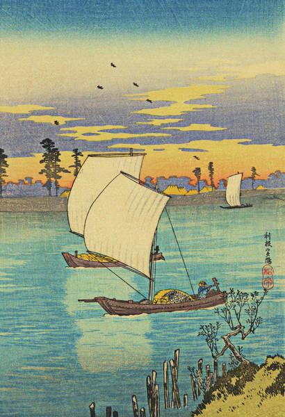 Kansai Painting - Sunset Glow At Tone River by Watanabe Shotei