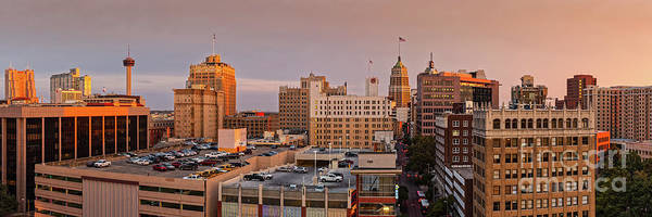 Wall Art - Photograph - Sunset Golden Hour Light Panorama Of San Antonio Skyline - Bexar County South Texas by Silvio Ligutti