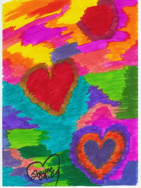 Drawing - Sunset Hearts by Susan Schanerman