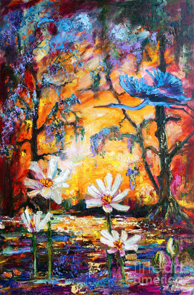 Painting - Sunset Heron Over Lotus Pond by Ginette Callaway