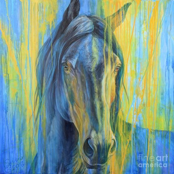 Horse Head Painting - Sunset Impression by Silvana Gabudean Dobre