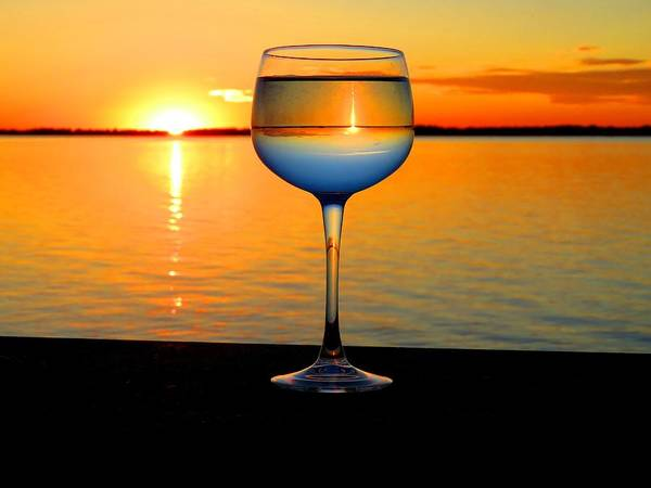 Sunset In A Glass Art Print