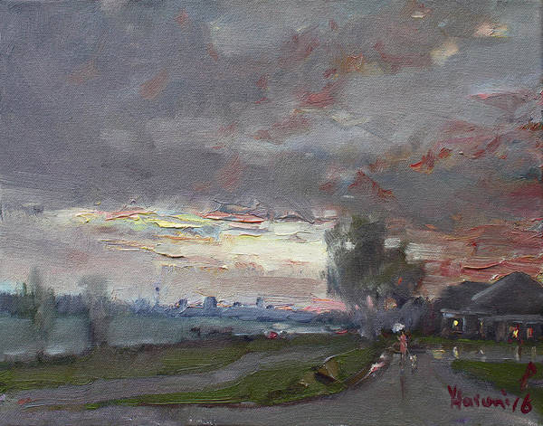 Lake House Painting - Sunset In A Rainy Day by Ylli Haruni