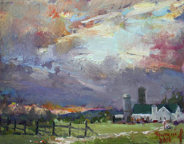 Wall Art - Painting - Sunset In A Troubled Weather by Ylli Haruni