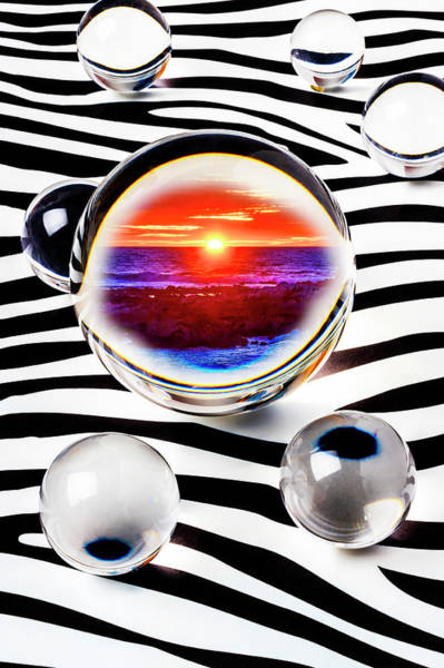 Wall Art - Photograph - Sunset In Crystal Ball by Garry Gay