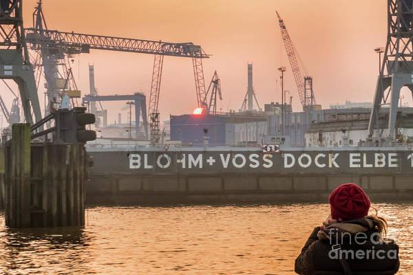 Photograph - Sunset In Hamburg Port Germany by Marina Usmanskaya