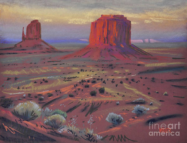 Monument Valley Painting - Sunset In Monument Valley by Donald Maier