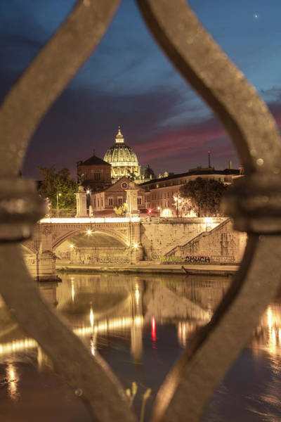 Photograph - Sunset In Rome With Bridge  by John McGraw