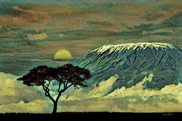 Kenya Mixed Media - Sunset In Serengeti by Russ Harris