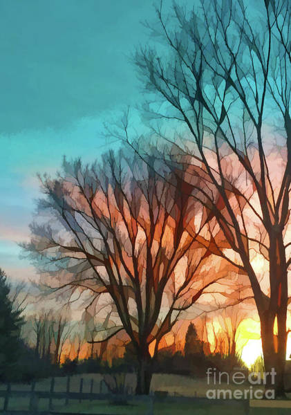 Sunset In The Country Art Print