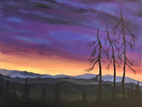 Wall Art - Painting - Sunset In The Forest by Willy Proctor