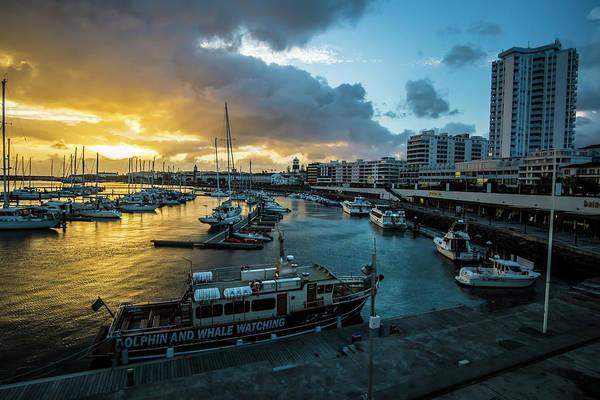 Photograph - Sunset In The Harbor Of Ponta Delgado, by Sven Brogren