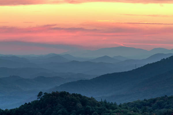 Photograph - Sunset In The Smoky Mountains by Teri Virbickis
