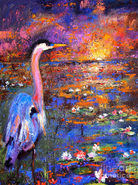 Painting - Sunset In The Wetlands Blue Heron by Ginette Callaway