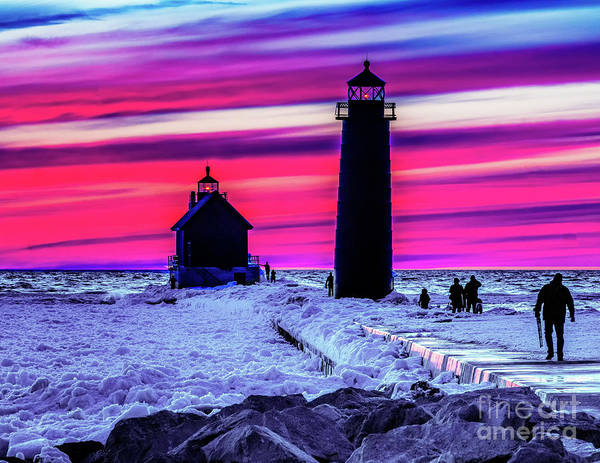 Photograph - Sunset In Winter At Grand Haven Lighthouse by Nick Zelinsky