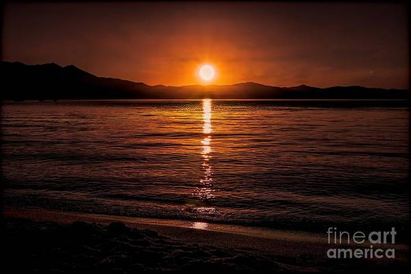 Sunset Lake 810pm Textured Art Print