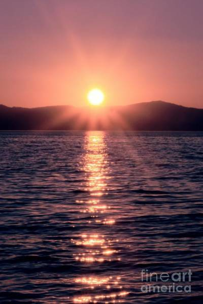 Sunset Lake Verticle Art Print