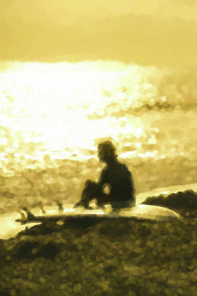 Digital Art - Sunset Meditation Surfing Watercolor by Scott Campbell