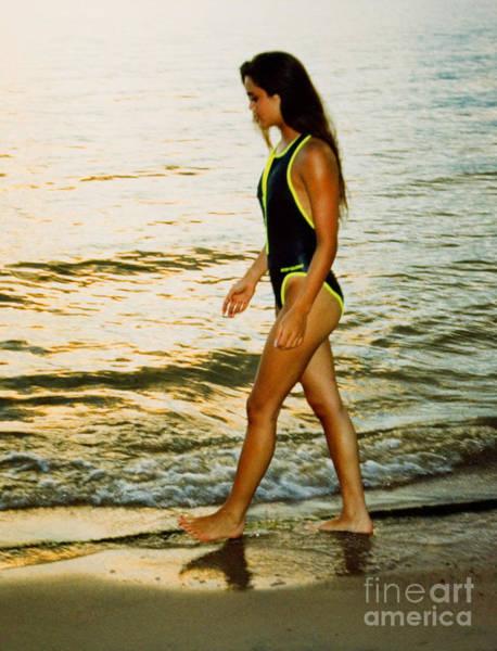 Photograph - Sunset Model On Golden Beach by Steve Krull
