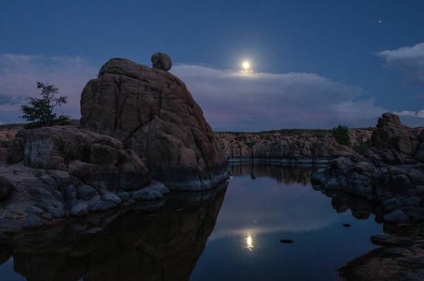 Photograph - Sunset Moon Reflection by Gaelyn Olmsted