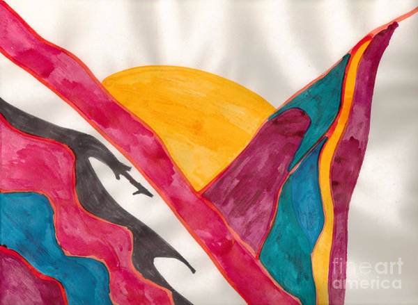 Mixed Media - Sunset Mountains by Mary Mikawoz