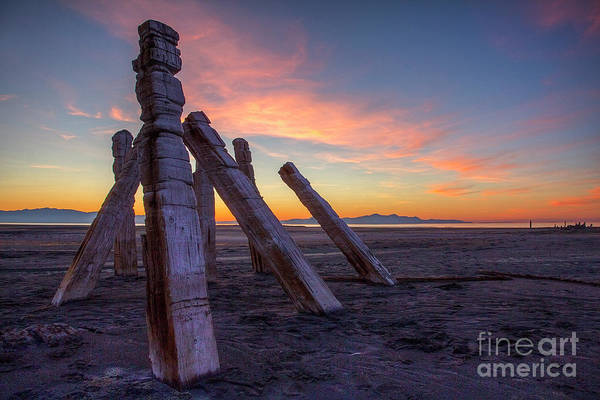 Photograph - Sunset Near Old Saltair Posts by Spencer Baugh