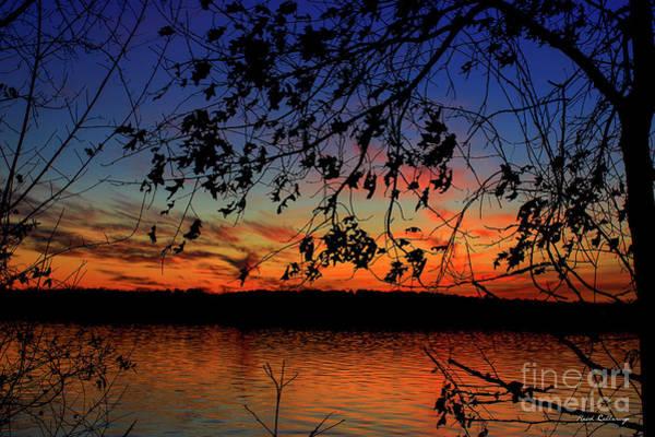 Photograph - Sunset Oak Silhouettes Sky Reflective Art by Reid Callaway