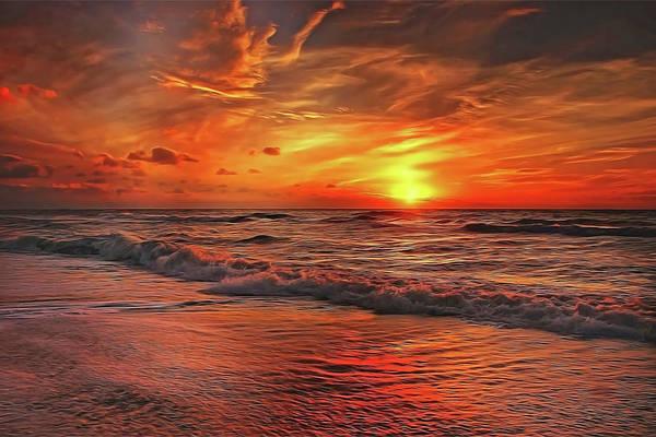 Painting - Sunset Ocean Dance by Harry Warrick